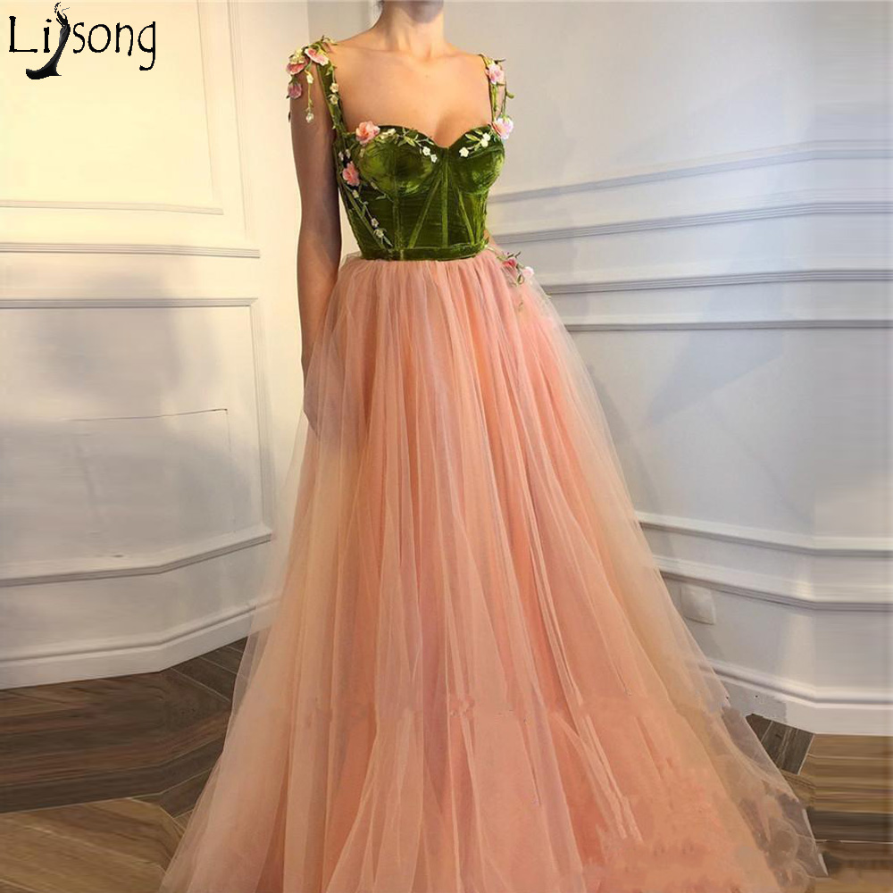 Blush Pink 3D Floral Long 2018 A Line   Prom     Dresses   Velvet Top Appliqued Girls Pageant Engagement Custom Made Party Evening   Dress
