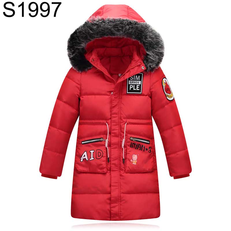 Fur Collar Hooded Girls Duck Down Jackets Children Long Patten Coat Kids Thick Warm Snowsuit Parka Boys Letter Printed Overcoat fashion teenage boys down jackets winter thick warm duck down coats for boys children fur collar hooded long sleeve outerwears