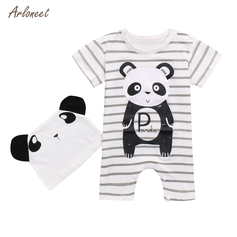 ARLONEET 2PC Kids Baby Boy&Girl Animals Print Short Sleeve Romper Playsuit+Print Hats Set 2018 HOT Dropshipping _E11
