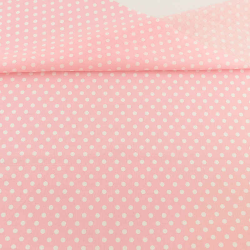 New White Dots Printed Pink Cotton Fabric Pre-cut Fat Quarter Patchwork Tissue Crafts Dolls Fabrics Sewing for Doll's DIY