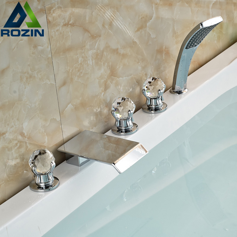 Polished Chrome Bathroom Waterfall Spout 5pcs Bathtub Mixer Faucet Three Cristal Handles with Handshower