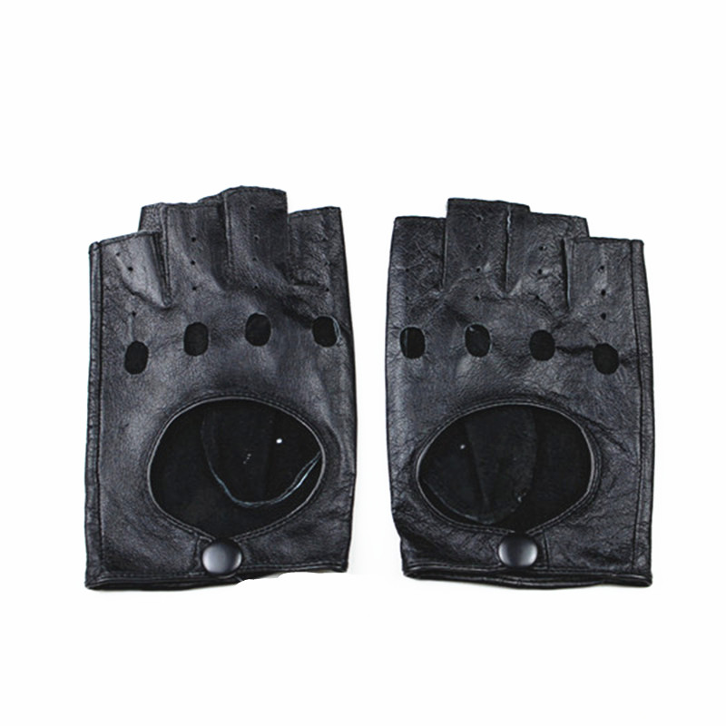Fingerless Gloves Half-finger Leather Mittens Spring And Autumn Fashion Hollow Button Style Riding Sports Driving