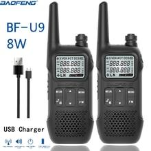 BAOFENG BF U9 MINI Kids UHF 400 470MHz FM Ham Walkie Talkie USB Lanterna HF Transceptor em Dois Sentidos Portátil rádio BF T1 BF T6