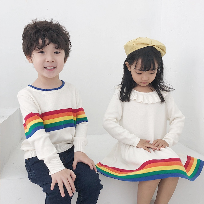 Autumn Spring Fashion Baby Kids Sweater Cartoon Rainbow Infant Child Long Sleeve Casual Coats Sweaters Cute