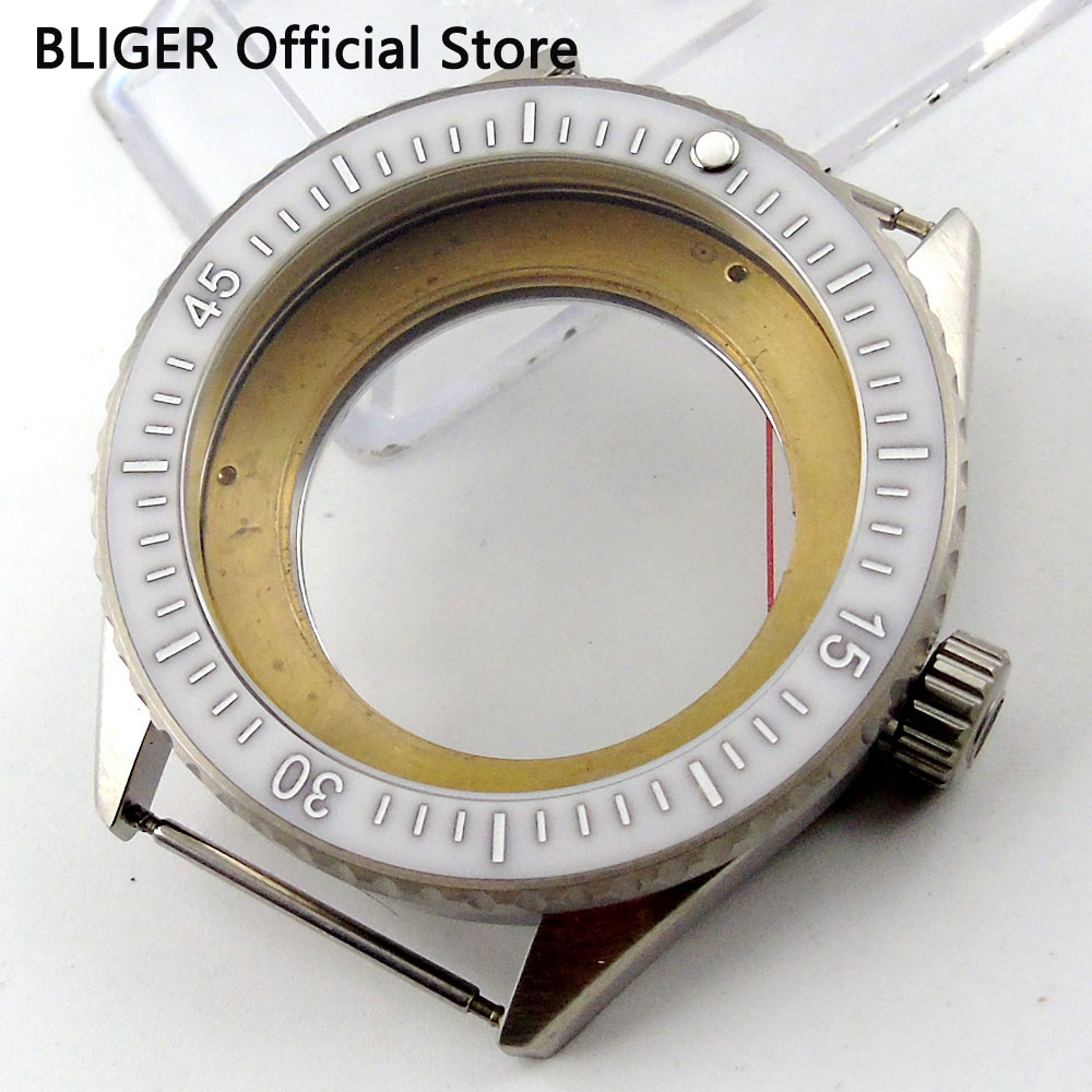 лучшая цена Sapphire Glass 43MM Stainless Steel Watch Case Fit For ETA 2824 2836 Automatic Movement C86