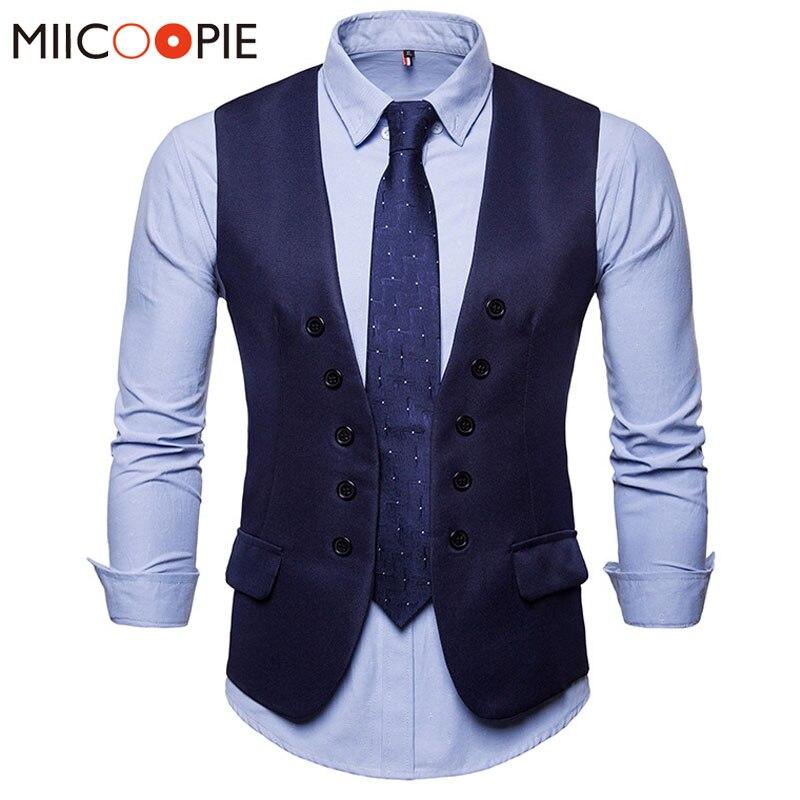 Men Suit Vest Classic Double-breasted Colete Masculino Slim Fit Wedding Waistcoat Gilet Men Formal Slim Dress Sleeveless Vest