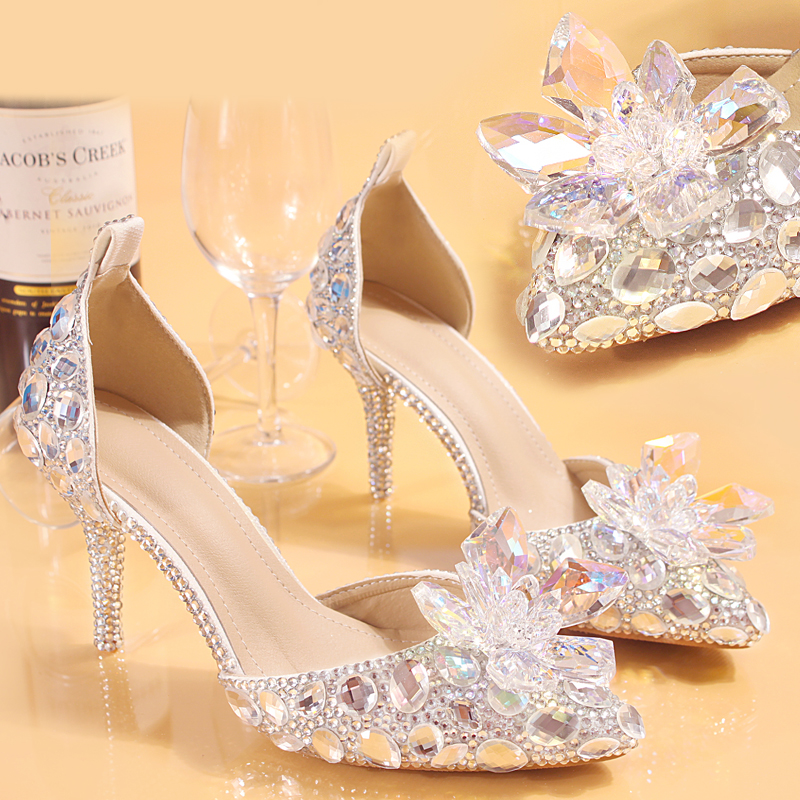 Wedding Shoes Bride Women Summer Sandals Crystal News Lady Big Size High Heels Princess Shoes Silver Red Colorful Discolora Shoe