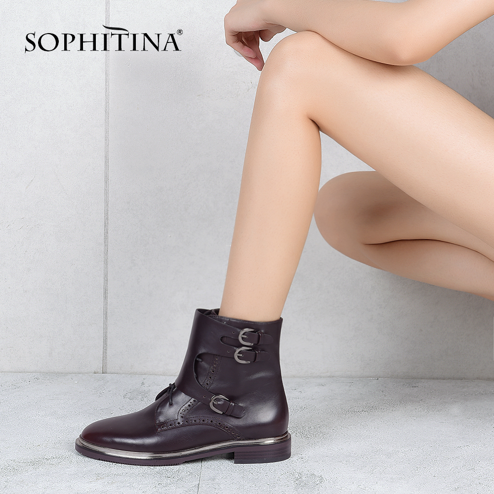 SOPHITINA Genuine Leather Boots 2019 High Quality Handmade Round Toe Lady Ankle Boots Low Heels Buckle Unique Woman Shoes M15