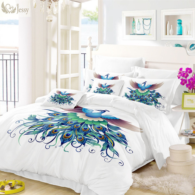 Colorful Feather Duvet Cover Set Animal Blue Pea Print Bedding Twin Full Queen King Bed
