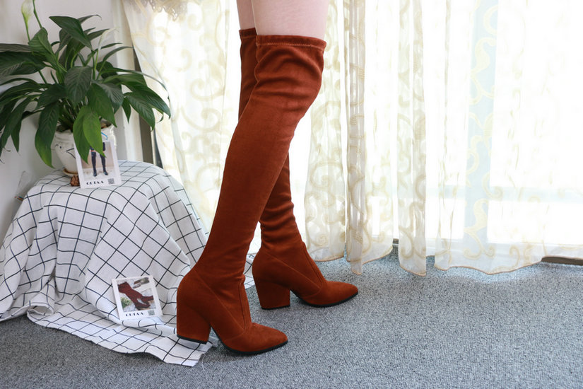 Women Hoof Heels Winter Shoes Pointed Toe Sexy Elastic Fabric Boots 50
