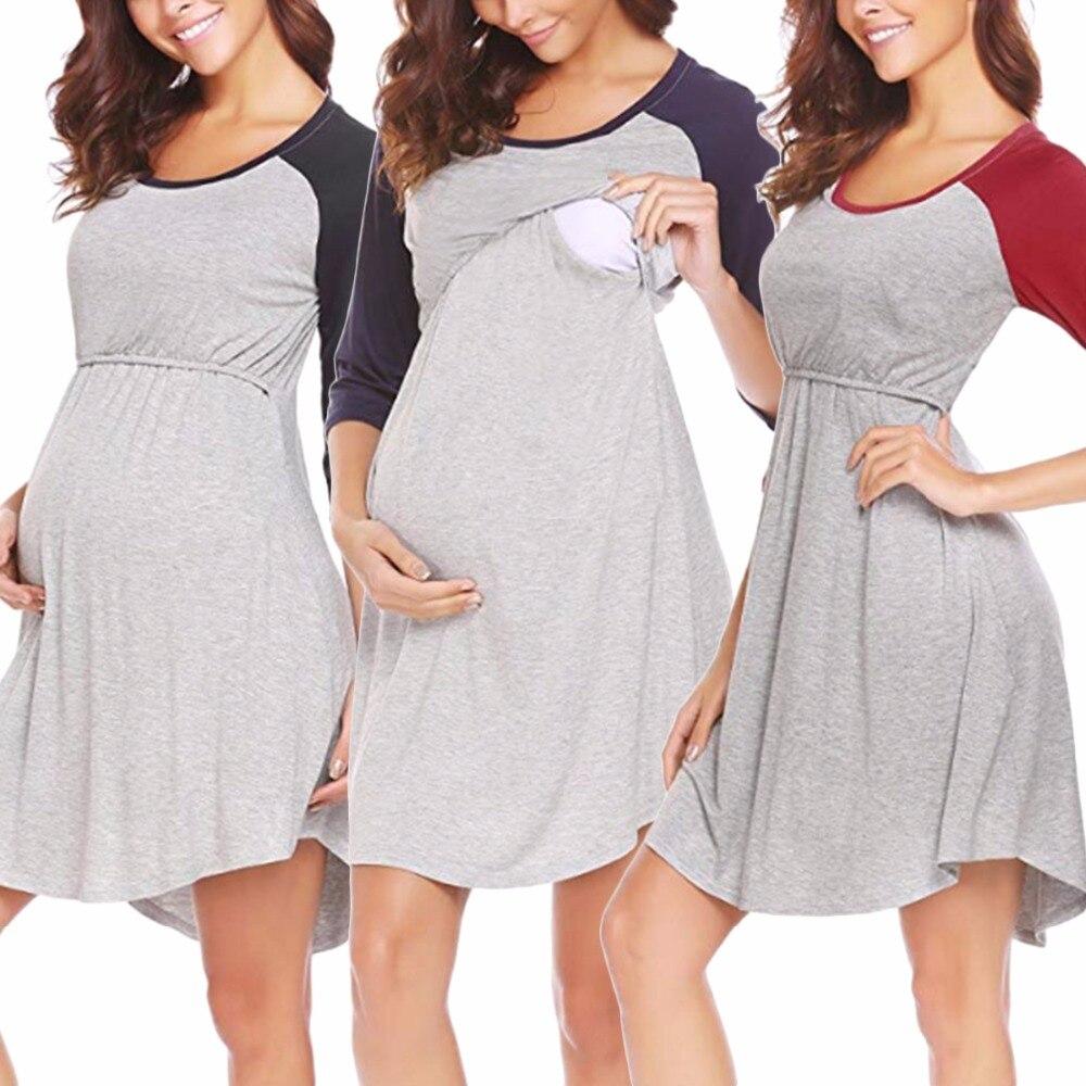 Puseky Maternity Dresses Daily Dress Breast Feed Hole Pregnancy Clothes Women Lady Elegant 3/4 Raglan Sleeves Mini Dress plus size raglan sleeve mini sheath dress