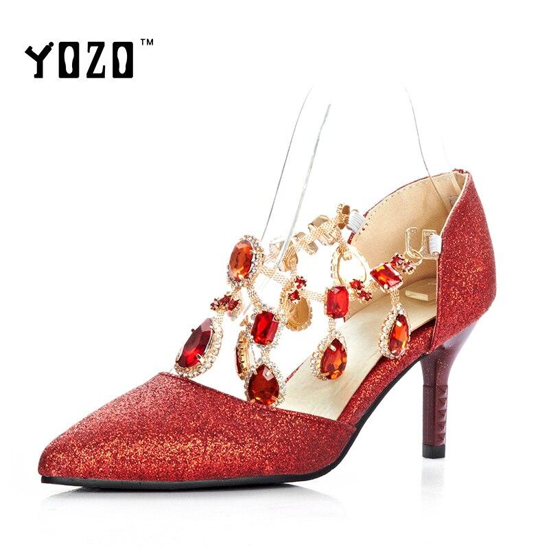 ФОТО YOZO Women Shoes Fashion Crystal High Heels Pumps Women Elegant Luxury Sexy Wedding Party Pumps Bride Shoes Chaussures Femme