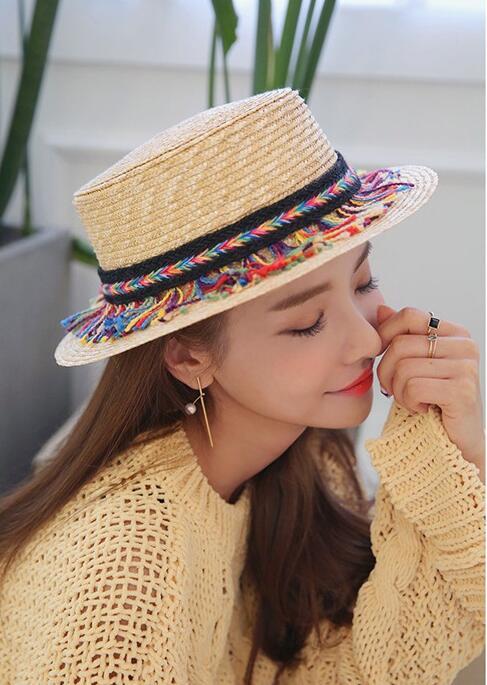 Соломенная Шапки для Для женщин Flat Top Fedora Шляпы широкополые для женщин летние Кепки пляжные 50 шт. оптовая продажа FedEx, DHL
