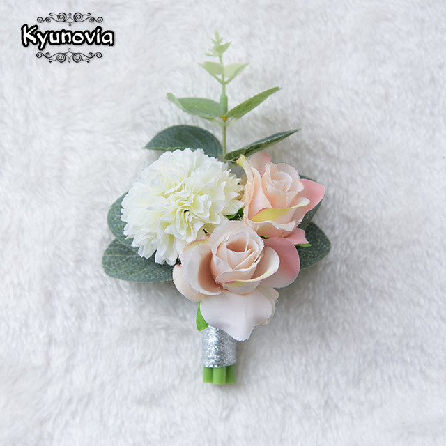 Kyunovia Wedding Prom Boutonniere Flower Brooch Hand Corsage Witness ...