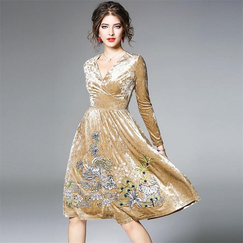 Sexy Del Donne Abiti 3xl Size Vestito Ricamo Big Animale Casual Delle Cachi 2019 Elegante Velluto M Oro Floreale Autunno Primavera wvpqfIgxBz