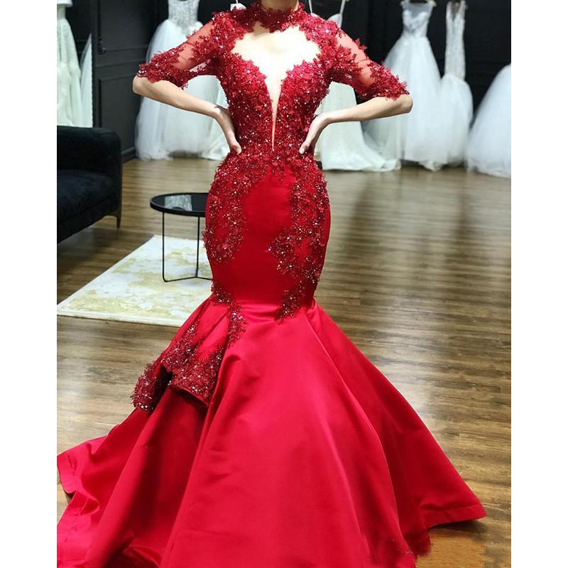 2019 Red Satin High Neck Lace Appliques Mermaid   Prom     Dresses   Half Sleeves Beaded Formal Evening Gowns Party Pageant   Dresses