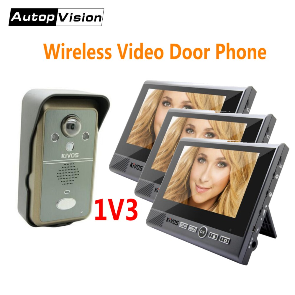 KDB702 1v3 wireless video intercom systerm 7 inch Monitor smart Video Doorbell Door Phone with Night Vision 2 Way Audio