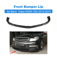 Carbon Fiber auto car Front Bumper Lip Spoiler for benz C Class W204 AMG C63 2012 2014 Car Styling FRP Unpainted