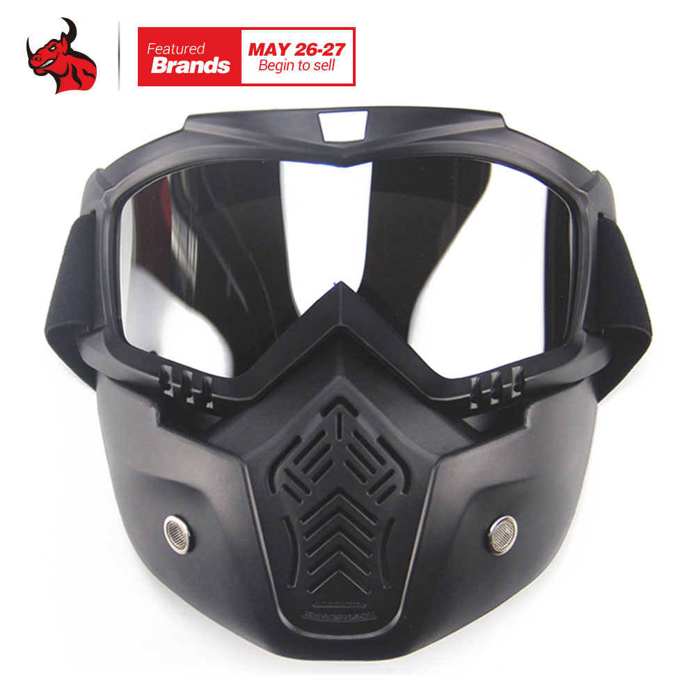 New Motorcycle Face Mask Goggles Motocross Motorbike Skiing Modular Mask Moto Helmet Glasses for Open Face Vintage Retro Helmet