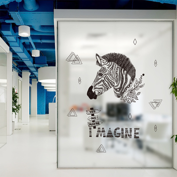 Zebra Wall Stickers For reading room Bookstore Business Decor DIY Removable Wall Decal office decoration QTM365-4 & Zebra Wall Stickers For reading room Bookstore Business Decor DIY ...