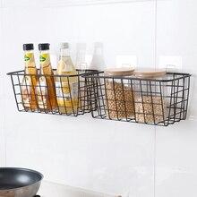 Iron Kitchen Hanging Basket Household Desktop Art Storage Basket Bathroom Storage Box Sundries Wall Organizer Rack +Suction Cup