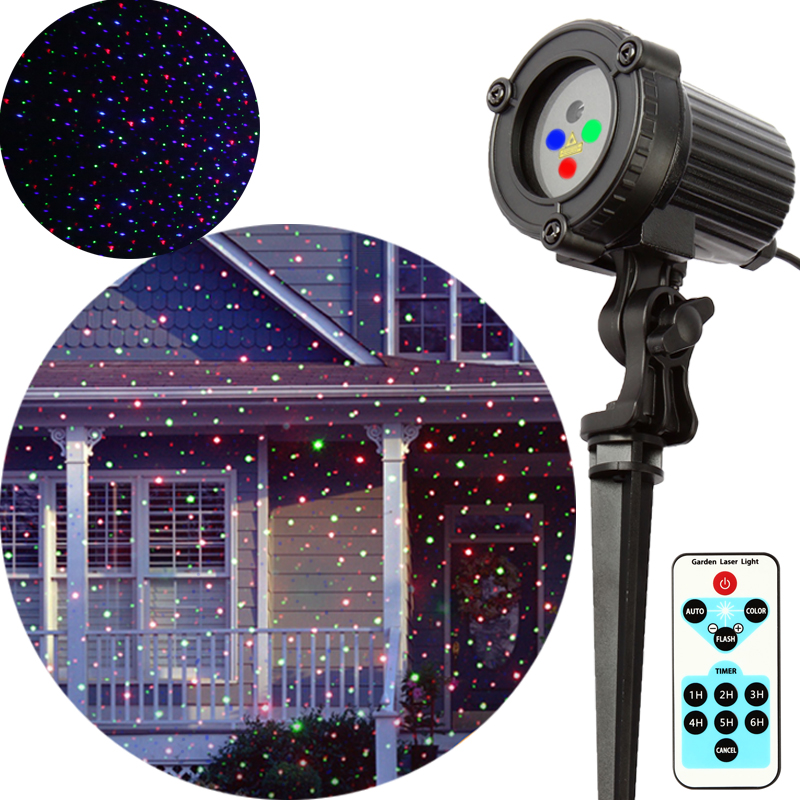 Outdoor Christmas Laser Light RGB Star Projector Showers Holiday Home Decorations Static effect with Remote Waterproof IP44