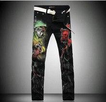 Цю дон мужчины джинсовые брюки личность европа и соединенные штаты прямо мода печать краска джинсы