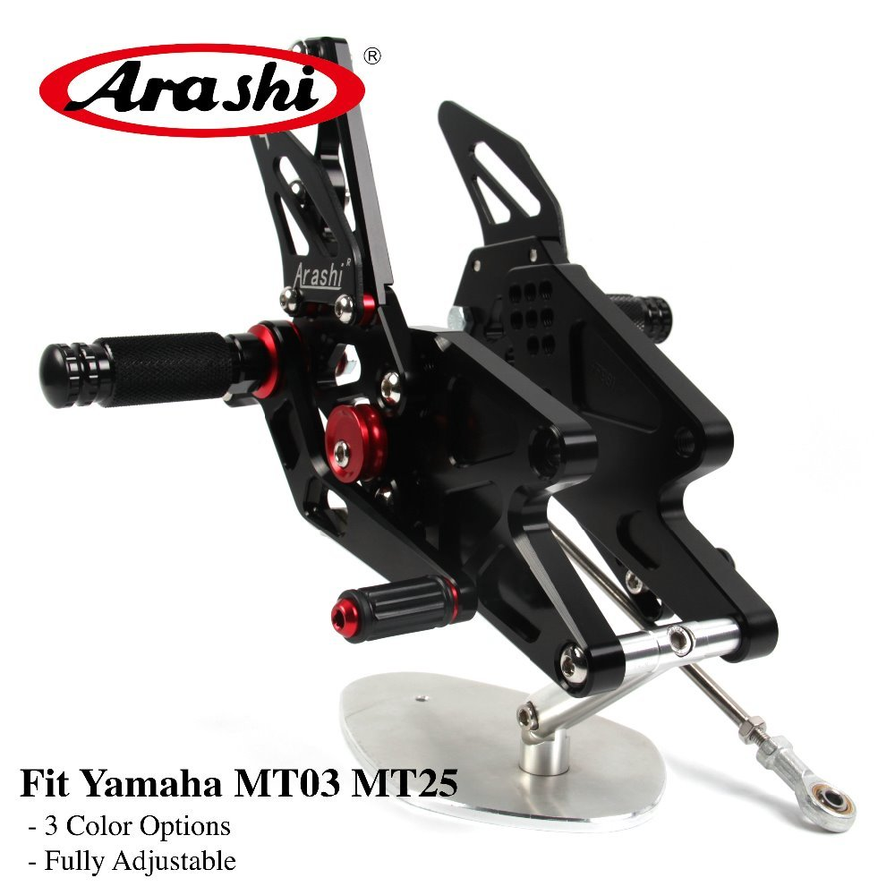 Arashi 1 Set For YAMAHA MT03 MT25 2015 2016 2017 Non U.S.model CNC Adjustable Footrest Foot Pegs Rider Rear Sets MT 03 MT 25