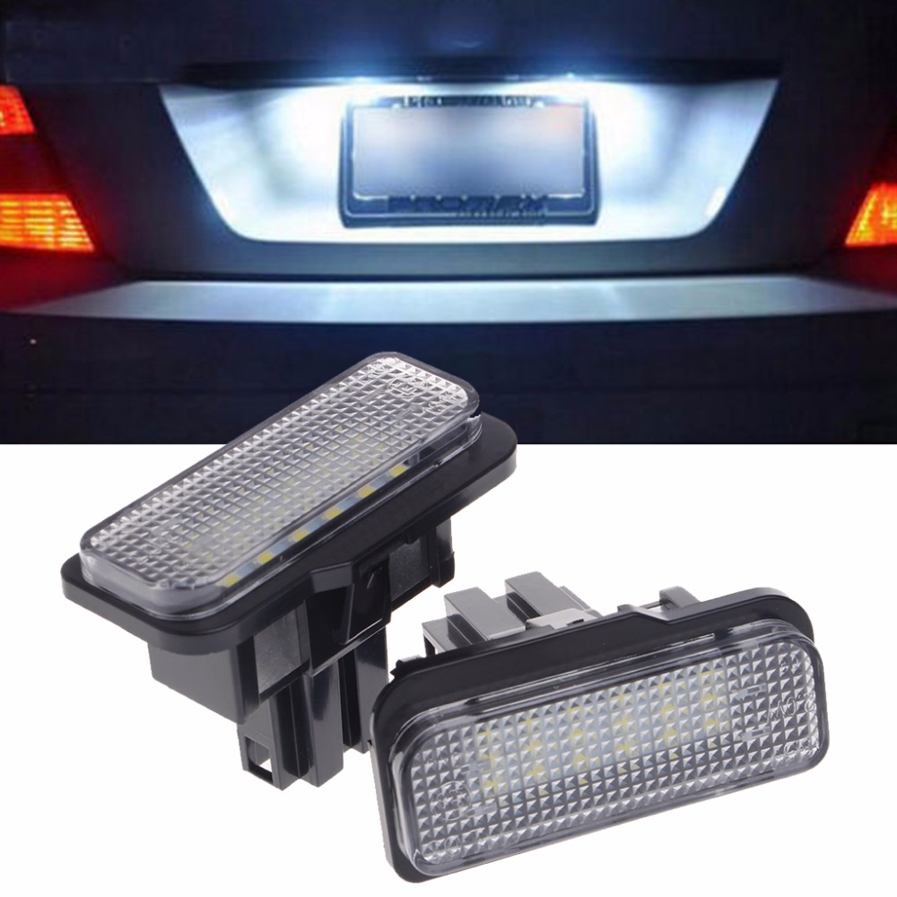 2 Pcs No Error 18 LED SMD Plate Light For Benz W203 W211 W219 R171 New 2pcs xenon white license plate led light no error for mercedes benz w203 w211 w219