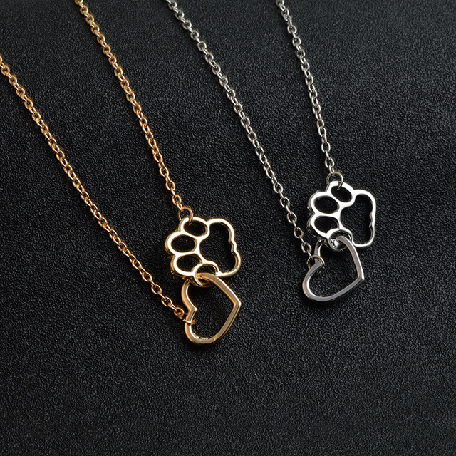 9ccf177099a70 US $2.25 |Aliexpress.com : Buy Drop Shipping New Fashion Heart & Animal Pet  Dog/Cat Paw Charm Pendant Necklaces Alloy Gold silver plated Clavicle ...