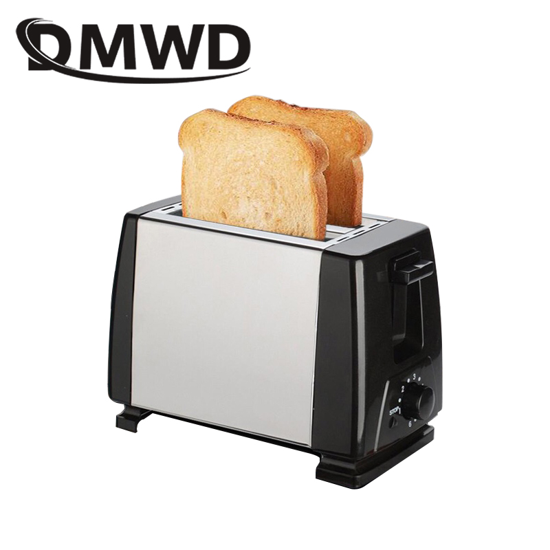 DMWD Mini household Toaster Electric Baking Bread Maker Stainless Steel Automatics Breakfast Machin Toast oven 2 Slices 750W EU dmwd mini household bread baking maker toaster toast oven yogurt maker boiled eggs cooker multifunction breakfast machine eu us