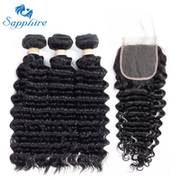 Sapphire Deep Wave Remy Human Hair 3 Bundles With Closure 1B Color For Hair Salon High