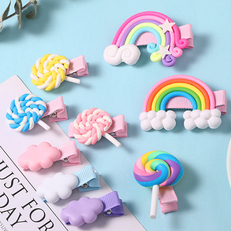 New Arrivals Kids Hair Accessories   Headwear   Cloud Shape Lollipop Hairpins Headdress Cartoon Colorful Rainbow Hair Clip for Girls