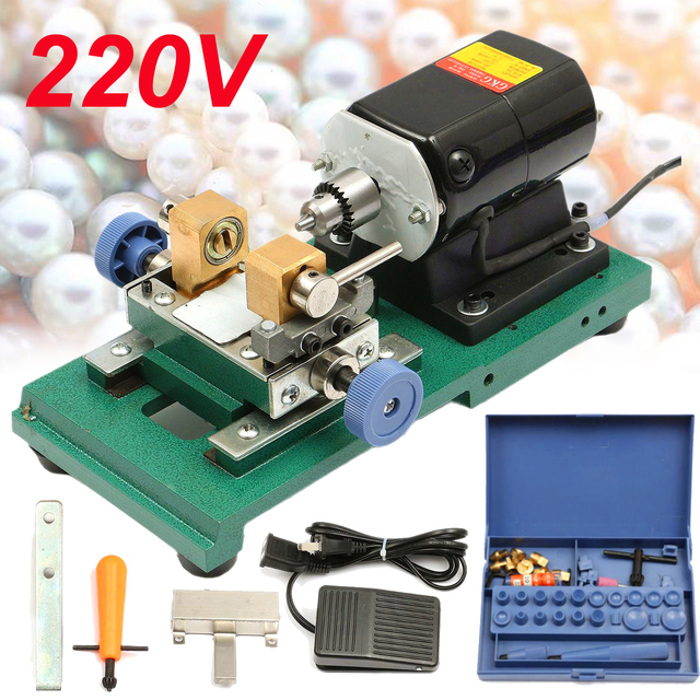 220V 280W 60Hz Pearl Drilling Holing Machine Driller Bead Jewelry Punch Engraving Engraver Machine Tool Full Set