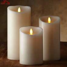 3 Pcs/set Luminara Candles LED Dancing Flameless Wax Pillar Candles W/ Remote for Gifts Home Wedding Christmas Decoration