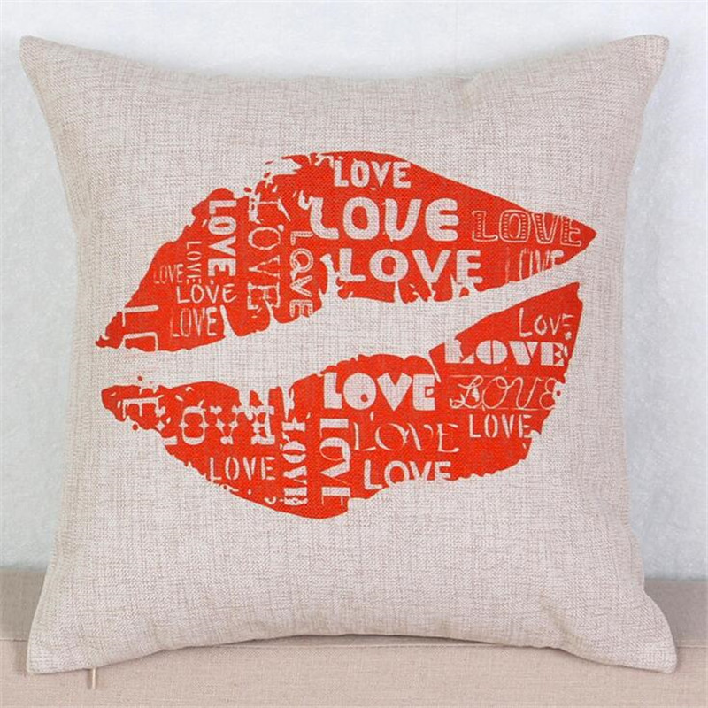 The letter Love <font><b>Home</b></font> Decorative Pillow <font><b>Elegant</b></font> Plant Printed Throw Pillow Car <font><b>Home</b></font> <font><b>Decor</b></font> Fundas Linen Cotton Cushion Cojines