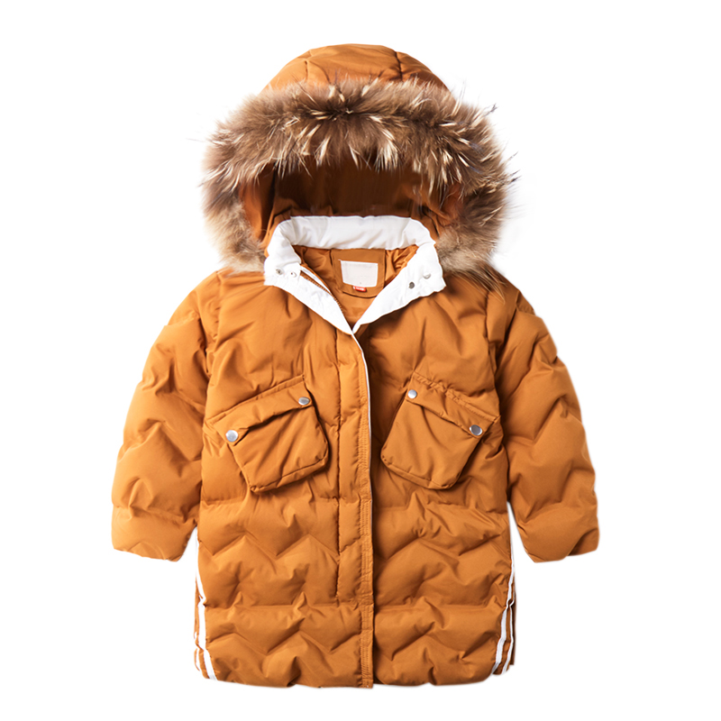 Fashion Children Fur Collar Hooded Padded Cotton Warm Jacket 2018 New Children's Clothing Boys Long Cotton Padded Thick Coats 2017 new high quality big fur collar women long winter cotton padded coats female warm jacket large size parka outerwear qh0882