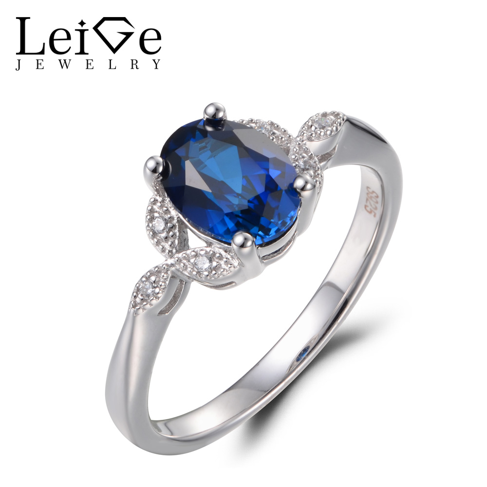 Leige Jewelry Sapphire Engagement Rings Sapphire Rings Blue Stone Rings September Birthstone Real 925 Sterling Silver for WomenLeige Jewelry Sapphire Engagement Rings Sapphire Rings Blue Stone Rings September Birthstone Real 925 Sterling Silver for Women