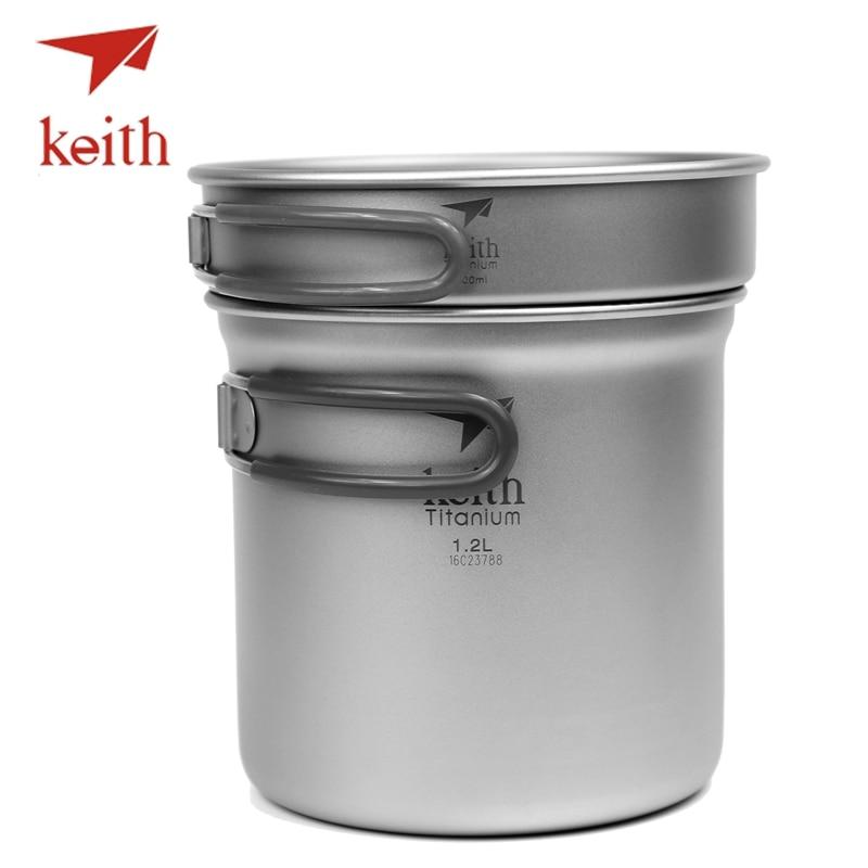 Keith Pure Titanium Pots Set Camping Cookware Tableware Travel Picnic Utensils Cooking Set Bowl Pot Pan Outdoor Hiking Cooker