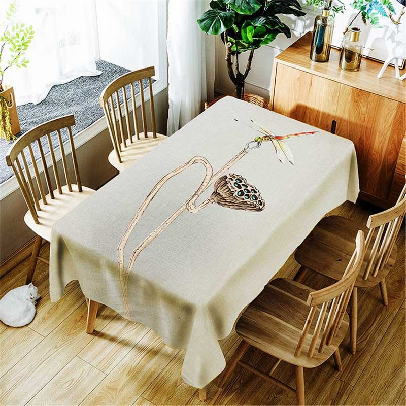 3D digital print fasion rectangle polyester dinning room resturant kitchen water oil proof tablecloth table cloth cover lotus