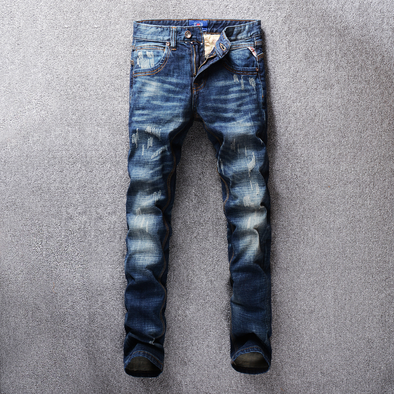 2018 Autumn Winter Fashion Men Jeans Dark Blue Color Slim Fit Distressed Ripped Jeans For Men Streetwear Classical Jeans Homme