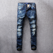 2018 Autumn Winter Fashion Men Jeans Dark Blue Color Slim Fit Distressed Ripped For Streetwear Classical homme