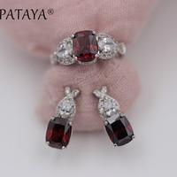 PATAYA New Arrivals Pomegranate Red Rabbit Ear Natural Zircon Earrings Rings Sets Women Luxury True White