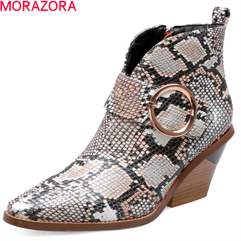 MORAZORA 2020 new arrival ankle boots for women buckle Snake zip autumn winter high heels boots ladies party dress shoes woman