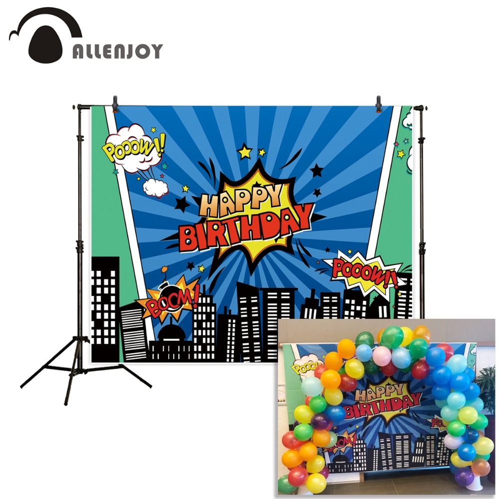 Allenjoy backdrop for photographic studio Superhero City Theme Blue Stripes Happy Birthday background original design photocall otomatik çadır
