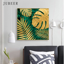 Nordic Style Abstract Painting Tropical Plant Leaf Golden Decorative For Living Room Cuadros Decoracion Salon