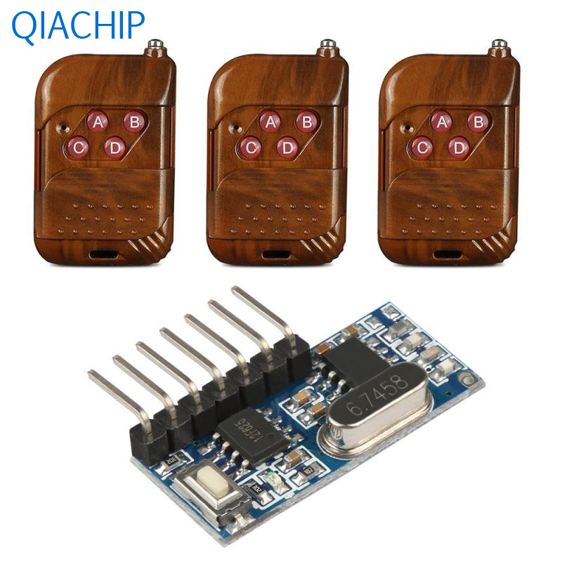 3pcs 433 Mhz Universal Wireless Remote Control Switch DC 12V 4CH Relay Receiver Module and RF Transmitter 433 Mhz Remote Part