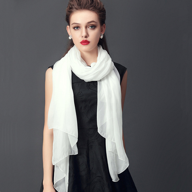 [LESIDA]170*55 cm Pure Long Women 100% Silk Scarf,Shawls And Scarves Of The Plain White,Ladies Multicolored color Scarf 22010