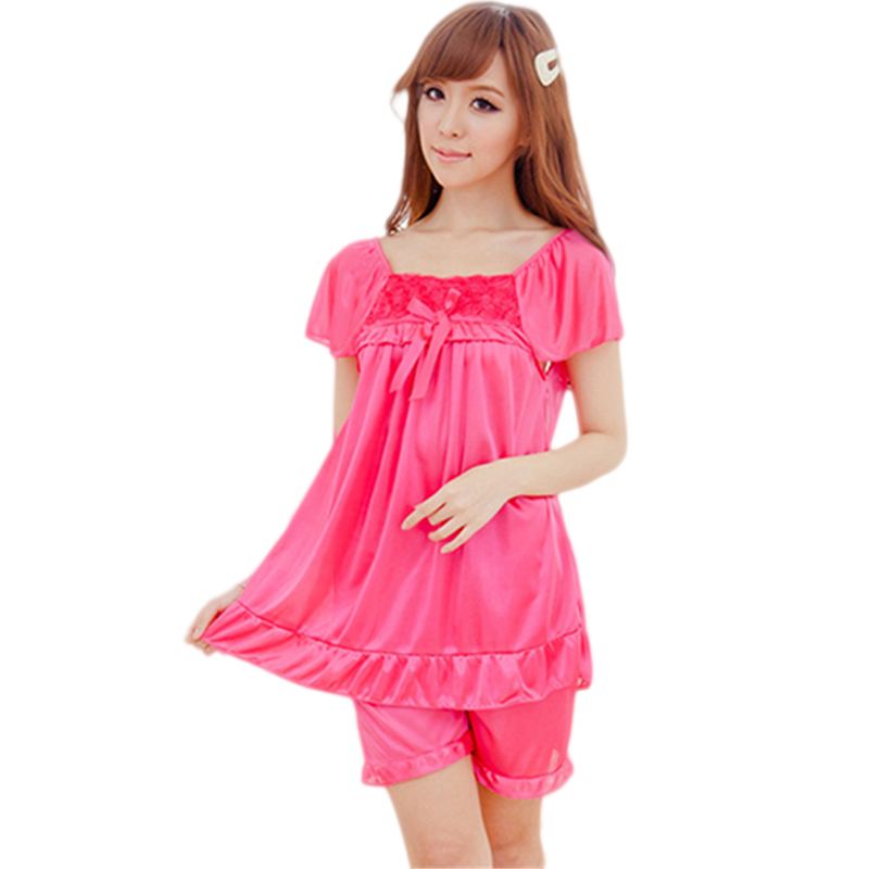 Online Shop 2Pcs Womens Nightdress Casual Sleepwear Shirts + Shorts Pants  Bowknot Pajama  22ccd910f