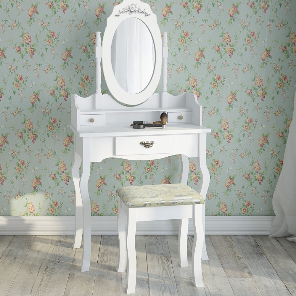 Dressing Table Oval Mirror Swivel & Stool Set 3 Drawers Bedroom Make Up Desk